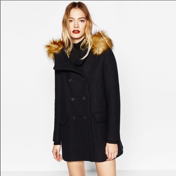 9173ccad Zara Wool Duffle Coat with Faux Fur Hood black NWT
